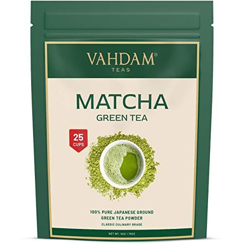 VAHDAM, Matcha Grüner Tee | 100% REINE japanische Herkunft Matcha Tee Pulver | 137x ANTI-OXIDANTEN | Energie-, Fokus- & Stoffwechsel-Booster | Grüner Tee für Gewichtsverlust | Japans SUPER FOOD | 50g