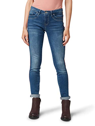 TOM TAILOR Damen Jeanshosen Alexa Slim Jeans mit seitlichem Tape mid Stone wash Denim,32/32