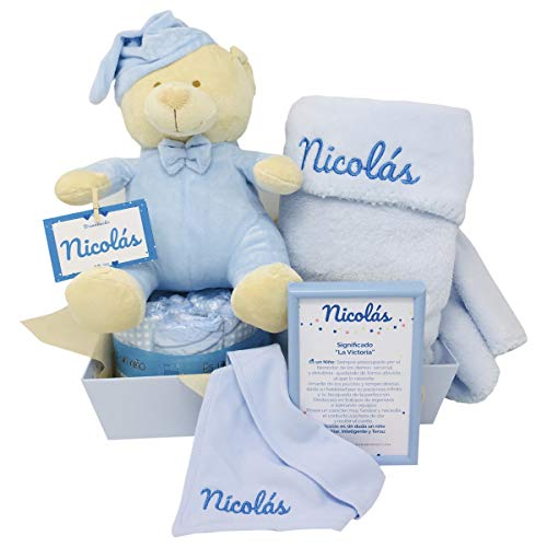 MabyBox Ternura | Canastilla Bebé Regalo | Regalo bebé | Cesta de Recién nacido Personalizada (Azul)