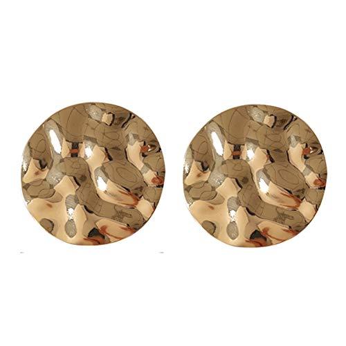 Bohemia Señoras Pendientes 2.8cm Moda Dorado Hyperbole Metal Geometría Redondo Stud Bohemio Señoras Pendientes Para Mujeres Estilo Europeo Americano, 2.8CM, Zinc,