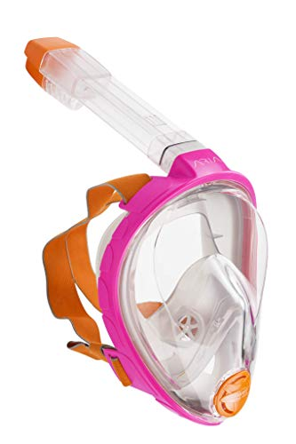 OCEAN REEF ARIA Schnorchel Maske, Vollgesichts Maske für Scuba Diving 180° Sichtfeld, müheloses Atmen, Anti Leak/Beschlag System und Dry Top, Pink Farbe, Small Größe