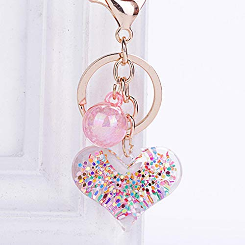 shenlanyu Llavero de moda estéreo llavero creativo teléfono móvil bolsa colgante coche llavero transparente en forma de corazón lindo amor acceso clave