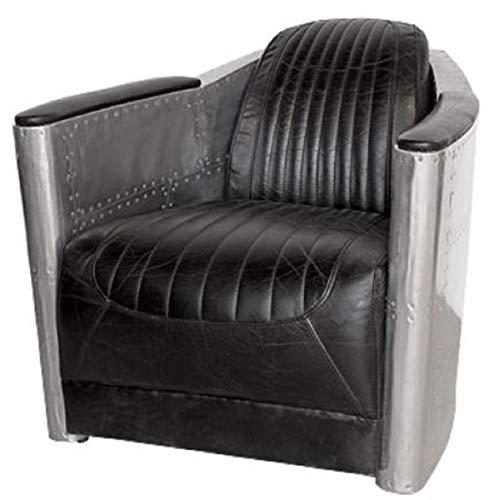 Casa Padrino Art Deco Sillón Aluminio Cuero Real Negro/Plata 74,5 x 94 x H. 78 cm - Sillón Club - Sillón Lounge - Muebles de Aviador para Aviones