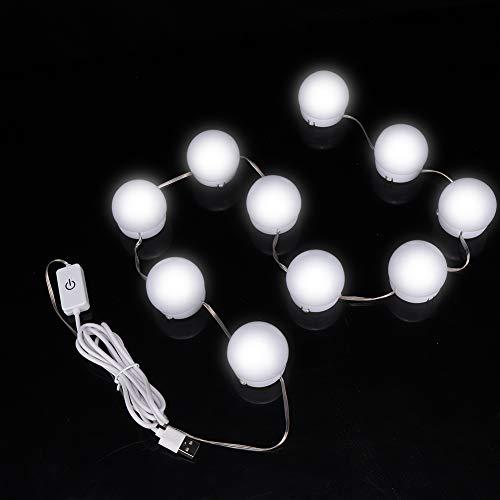 Lampe de maquillage, 10 pièces/ensemble USB 3 couleurs LED ampoule maquillage beauté bureau miroir de maquillage miroir de maquillage ampoule miroir lumière miroir de vanité lumière de maquillage éc