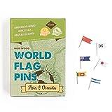 Miss Wood Länderflaggen-Sticker mit Stecknadeln, Asien & Ozeanien, selbstklebend, grün, 15,6x 11x 2cm