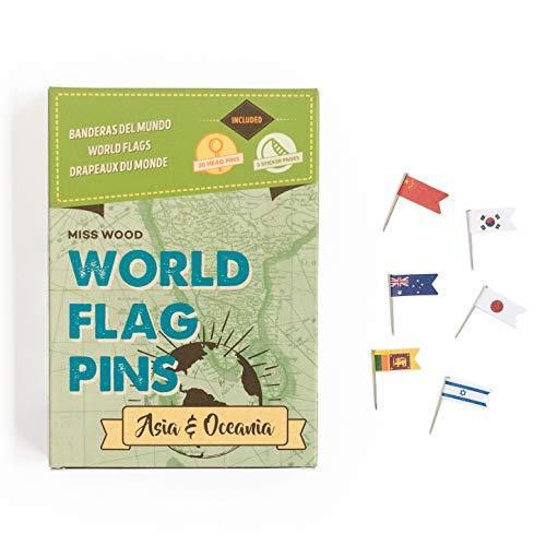 Miss Wood Länderflaggen-Sticker mit Stecknadeln, Asien und Ozeanien, selbstklebend, grün, 15,6x 11x 2cm