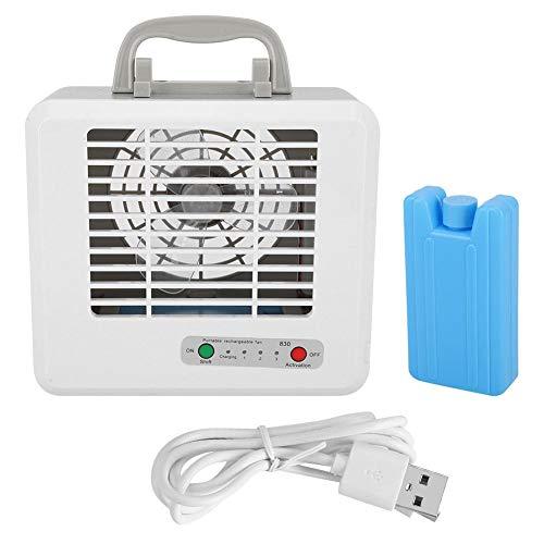 Draagbare ventilator met airconditioning, 3 waterkoelventilatoren met verstelbare snelkoeling, tafelventilator met super stille koeling met 2 kristallen.