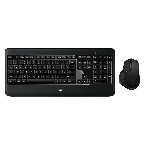 Logitech MX900 Premium Kabelloses Tastatur-Maus-Set, 2.4 GHz Verbindung via USB-Empfänger, MX Maus mit Easy-Switch Feature, Hintergrundbeleuchtete Tasten, PC/Laptop, Deutsches QWERTZ-Layout - schwarz