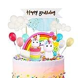 iZoeL Tortendeko Einhorn Geburtstag Kuchen Regenbogen Happy Birthday Girlande Luftballon Wolke Kuchen Topper für Kinder Mädchen Junge - 7