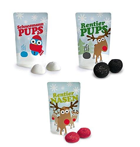 Liebeskummerpillen Weihnachts-Marshmallow-Set (Schneemannpups, Rentierpups, Rentiernase)