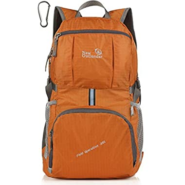 Outlander Packable Handy Lightweight Travel Hiking Backpack Daypack+ (New Orange)
