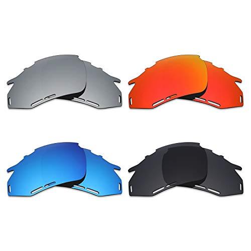 Mryok Lot de 4 paires de lentilles de rechange polarisées pour lunettes de soleil Rudy Project Fotonyk Noir furtif Rouge feu Bleu glace Argent Titane