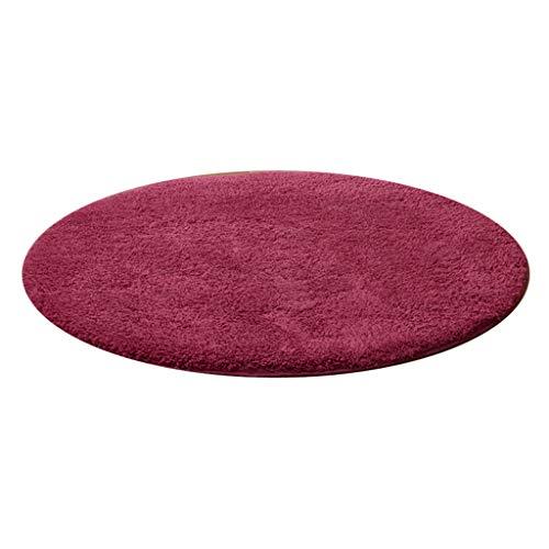 JCOCO Rural Chaud Solide Couleur Circulaire Forme Tapis Absorption d'eau Anti-dérapant Aucun Fading Salon Chambre Lit Côté Tapis (Couleur : Vin Rouge, Taille : 100 * 100cm)