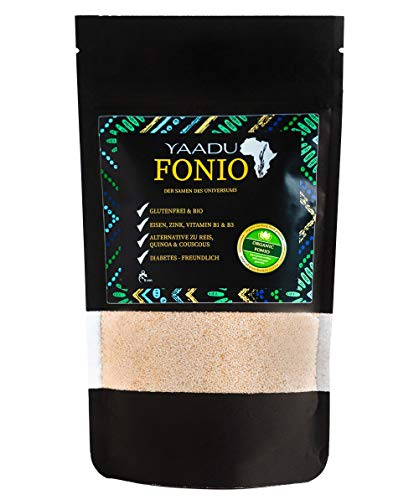Yaadu Fonio 250 g Päckchen - Glutenfrei - reich an Eisen, Magnesium und Calcium - Vegan - Premium Qualität - die Alternative zu Reis, Quinoa oder Couscous