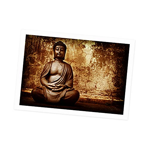 Meditation Buddha Statue Frame Wall Art Canvas Painting Brown Nordic Posters and Prints Living Room Pictures (24x36in,No Framed)