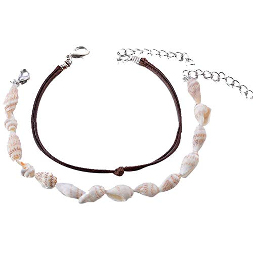 Aerobin 2pcs Shell Conch Anklet Retro Anklet Chain Cotton Thread Ankle Bracelet Foot Jewelry for Women Adjustable