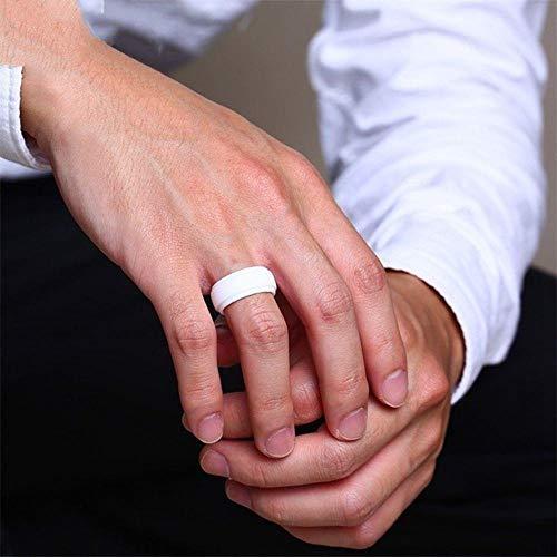 SYSFOUR - Anillos de silicona para hombre, 9 mm de ancho, color blanco y negro, 10, color blanco