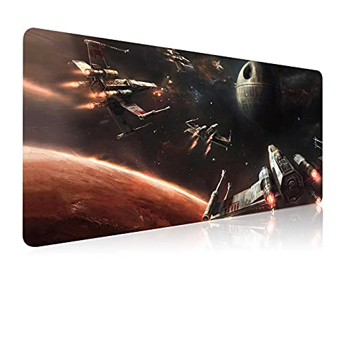 Extra Large Gaming Mouse Pad Death Star X-Wing Galaxy Planet,Stitched Edge Frame & Non-Skid Rubber Base Mousepad,Laptop Desk Pad,Computer Keyboard and Mice Pads Mouse Mat 35.4X15.7