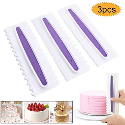 Bluesees - Raspador para tartas, 3 piezas, espátulas de plástico para decoración de pasteles, decoración de bordes, herramienta de bricolaje, espátulas de crema y azúcar