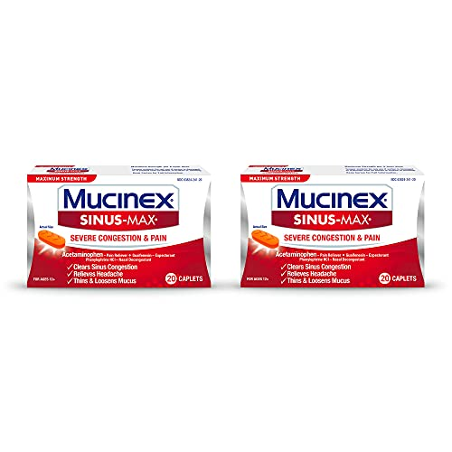 Sinus-Max Congestion & Pain Caplet (20 Count (Pack of 2))