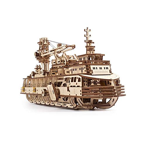 UGEARS Puzzle 3D in Legno per Adulti - Modello Meccanico di Una Nave da Ricerca - Modellismo Navale in Legno da Costruire - Kit di Modellini di Barche - Modellini da Costruire per Adulti Fai da Te