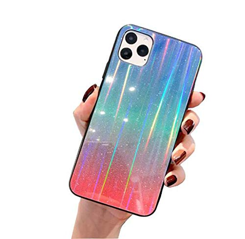 WODETIAN Transparent Aurora Gradient Color Case for Iphone 11/11 Pro/11 Pro Max Ultra Thin Tempered Glass Back Anti-Scratch TPU Bumper Shockproof Protective Case Cover,A,11pro