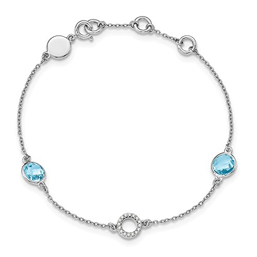 DIAMOND2DEAL INC Pulsera de Plata de Ley 925 con topacio Azul Blanco y Diamantes de 0,05...