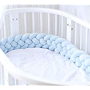 Woven Baby Bed Bumper,Yodio 78.7 Inch / 2 M Baby Bed Cushion Knotted Plush Pillow, Baby Bed Surround Protection 100% Cotton, Suitable for Boys and Girls Nurseries, Baby Photo Props