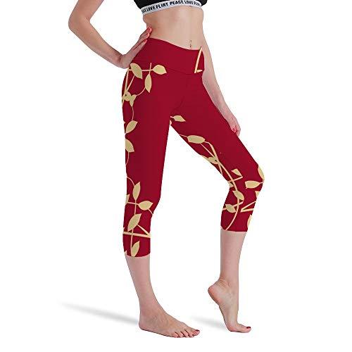 DKISEE Vrouwen Hoge Taille Zeven Punten Yoga Broek Rode Bloemen Gedrukte Sportbroek Leggings Hardlopen Gym Sweatpants voor Vrouwen