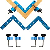 90 Degree Positioning Squares Right Angle Clamps Aluminum Alloy Woodworking Carpenter Woodpecker Tool for Picture Frame Box Cabinets Drawers 2 Squares(14cm/5.5')+ 4 Clamps