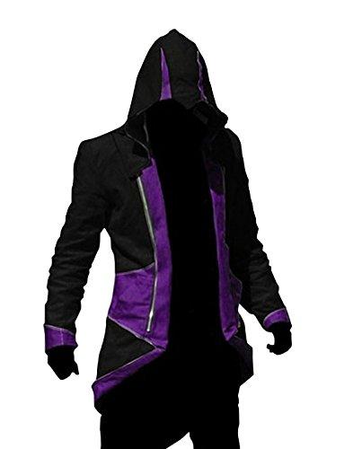 Cos2be Hoodie Jacket Coat (Black&Purple,Men-XXL)