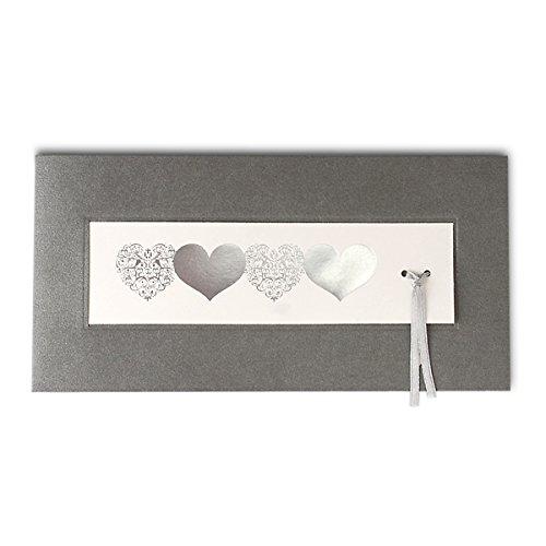 Einladungskarte Hochzeit Cecile, 3er-Set - Herzige Hochzeitseinladung in Silber-Grau - inklusive Briefumschlag