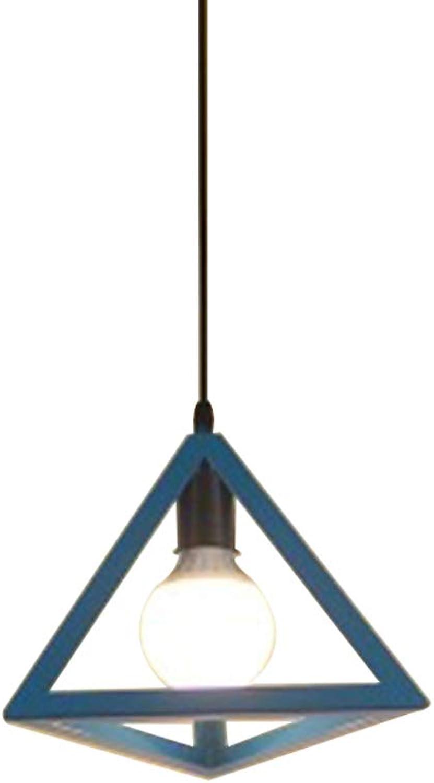 Café-Restaurantbarpersnlichkeit des geometrischen Dreieckschmiedeeisenleuchers nordischer kreativer einzelner Hauptleuchter,Blau,25  20CM