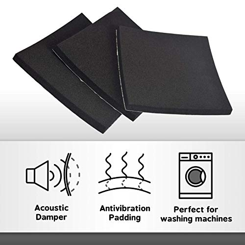 XCEL Super Versatile Rubber Pads with Strong Adhesive, Great Vibration Damping Pads, Perfect for Loud Washing Machines, Acoustic Foam Pad, Made in USA (3 Pack - 6