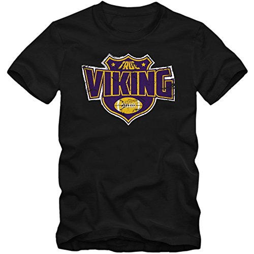 True Viking #8 Premium-Herrenshirt Herren Football Helm Super Bowl Champion American Sports Fanshirt 100% Baumwolle, Farbe:Schwarz (Deep Black L190);Größe:M
