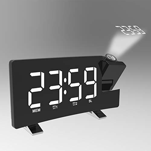 Wecker Digital, Projektionswecker Radiowecker mit Projektion, LED Wecker, Reisewecker, FM Radio USB-Anschluss, Tischuhr, 3 stufige Helligkeit 180 ° Projektion, Display abschaltbar dimmbar (Weiß)