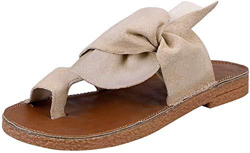WellingA Damen Sandalen Schleife Clip Zehen Flip Flops Post Tanga Hausschuhe Sommer Flache Sandalen Low Wedge Beach Schuhe,Weiß,40