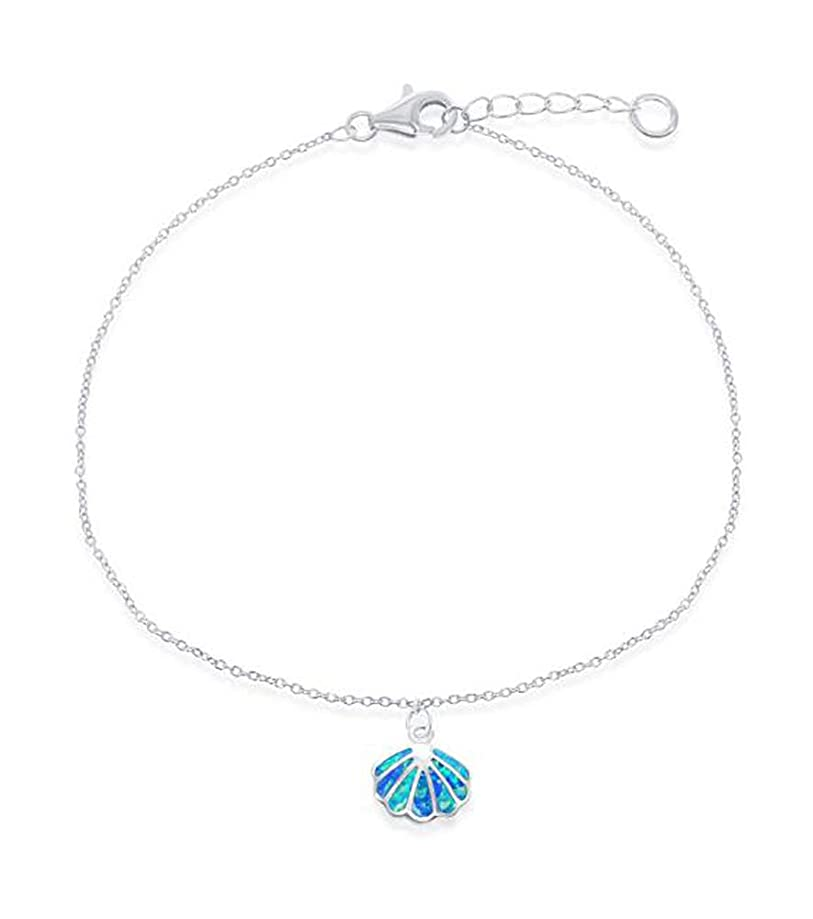Sterling Silver 9 inch to 10 inch Adjustable Ankle Bracelet with Synthetic Blue Opal Shell