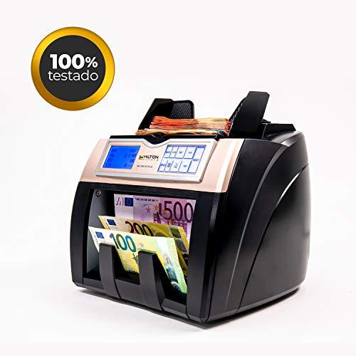 HILTON EUROPE HE-7500 3D Plus Contador totalizador de billetes con detección de billetes falsos cuenta y detecta USD capacidad 300 billetes actualizado a los nuevos billetes de 100 y 200 €