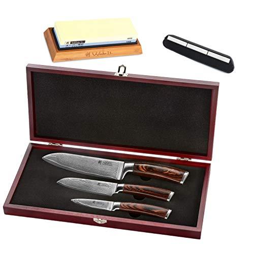 Wakoli 3er Damastmesser-Set mit Holzbox - Klingenlängen von 8,50 cm bis 17,00 cm mit Schleifstein Körnung #1000/4000 inkl. Schleifhilfe