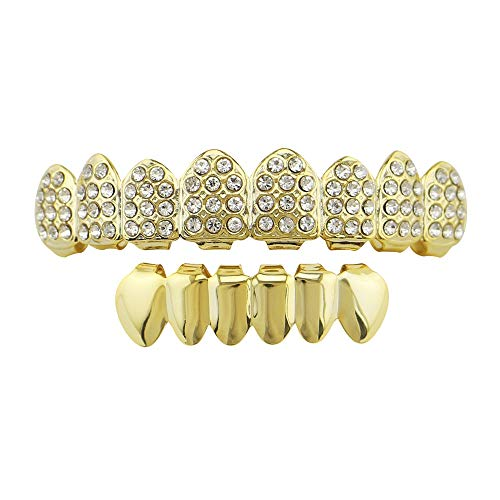 Yzibei Cool Plated Wit Goud Grills Set (8 Top & 6 Bottom) Strass Voor Mond Top Top Hip Hop Tanden Grills Voor Tanden Mond