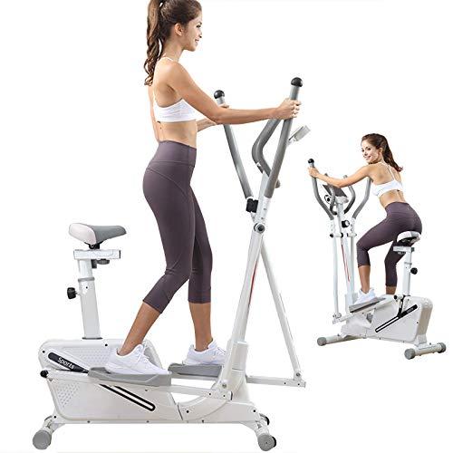 DEALRITE 3 en 1 máquina elíptica bicicleta de ejercicio, máquina elíptica magnética para uso en el hogar para hombres, mujeres y personas mayores, blanco