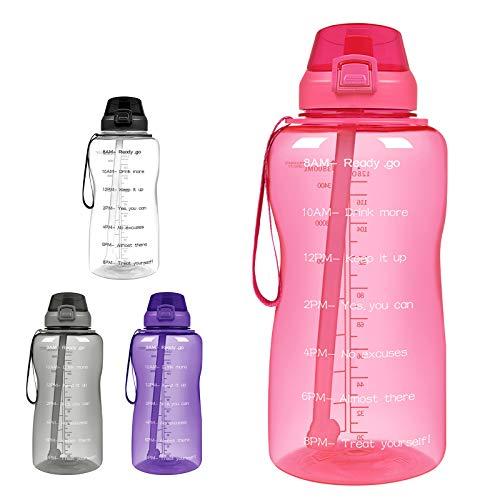 WMNRNYD Botella de Agua Motivacional, Jarra de Agua de Fitness a Prueba de Fugas de Gran Capacidad con Marcador de Tiempo y Pajita, para Gimnasio y Deportes al Aire Libre,Rosado