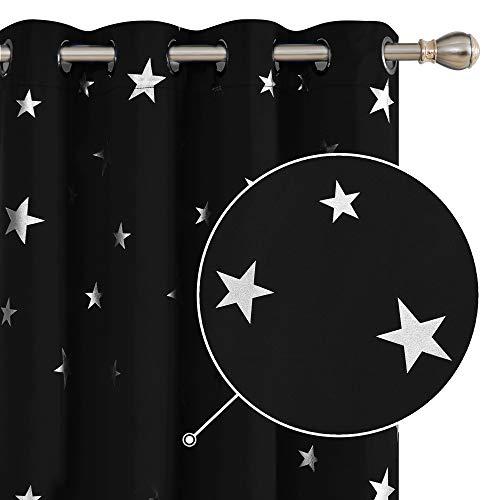 Deconovo Tende Oscuranti Termiche Isolanti con Occhielli e Stelle per Camera da Letto Nero 140x240cm Due Pannelli