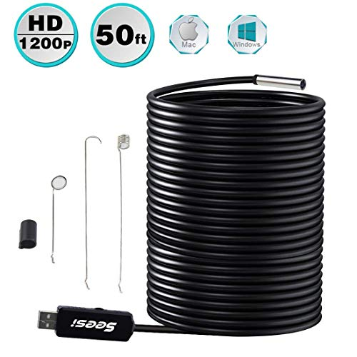 Seesi USB Endoscope Borescope Inspection Camera 0.33 Inch 50 foot/15 Meter HD 2MP 1200P Waterproof with 6pcs Density Adjustable Dimmable LEDs for Automotive Sewer Pipe Vent Inspections