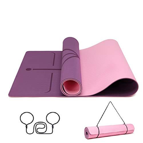 Good Nite Yogamatte Doppelte rutschfeste Fußboden Hoch Dichte Umweltfreundlich 1/4 inch (6mm) Dicke Matte, Bung Fitness Fitnessstudio Pilates Dicke Große Matte für Trainingssport (Lila/Rosa)