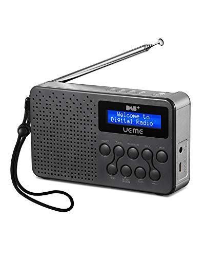 UEME Portable Radio Dab + / Dab/FM, avec Haut-Parleur 3 W intégré, Amplification des Basses, Batterie au Lithium 2600 mah, 16 Heures de Lecture (Gris/Argent)