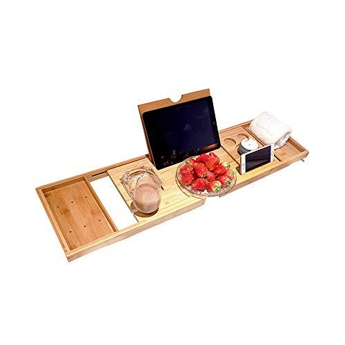 LSS Bambus Badewanne Tablett, erweiterbare Badezimmer Aufbewahrungsbox mit Weinglashalter, Handy...