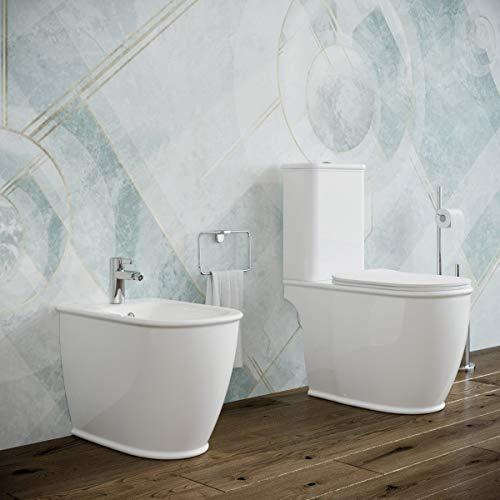 Sanitari bagno Bidet e Vaso WC monoblocco filomuro a terra con sedile coprivaso softclose e cassetta di scarico. Genesis