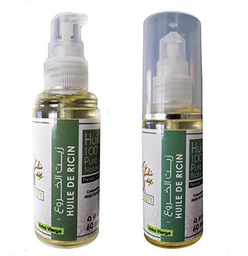 Huile de ricin pur pour pousse barbe cheveux cils nourissant naturel cuticules ongles peau et sourcils 60ML Huile vegetale pressée à froid Extra Vierge (60 ML)
